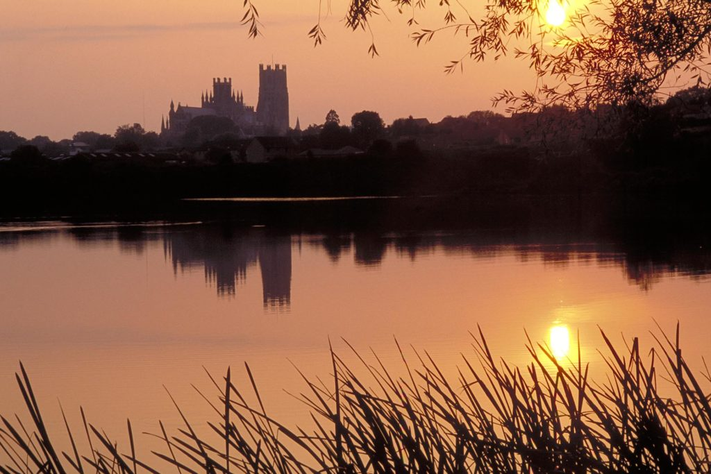 Cathedral silhouetted at sunset, Ely, Cambridgeshire