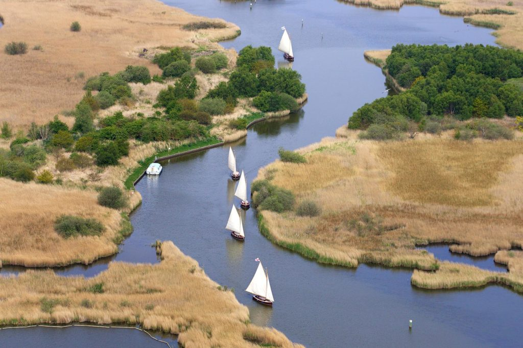 Sailing boats on the Broads