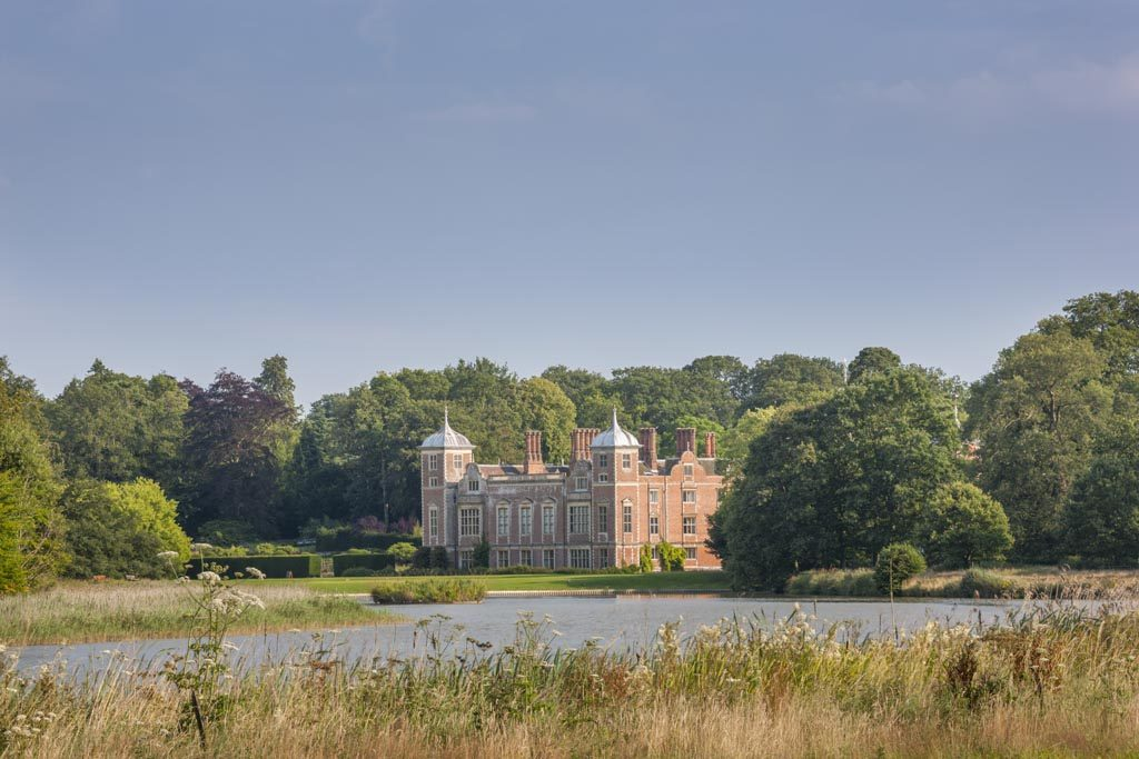 The hall from the lake at Blickling Estate, Norfolk.