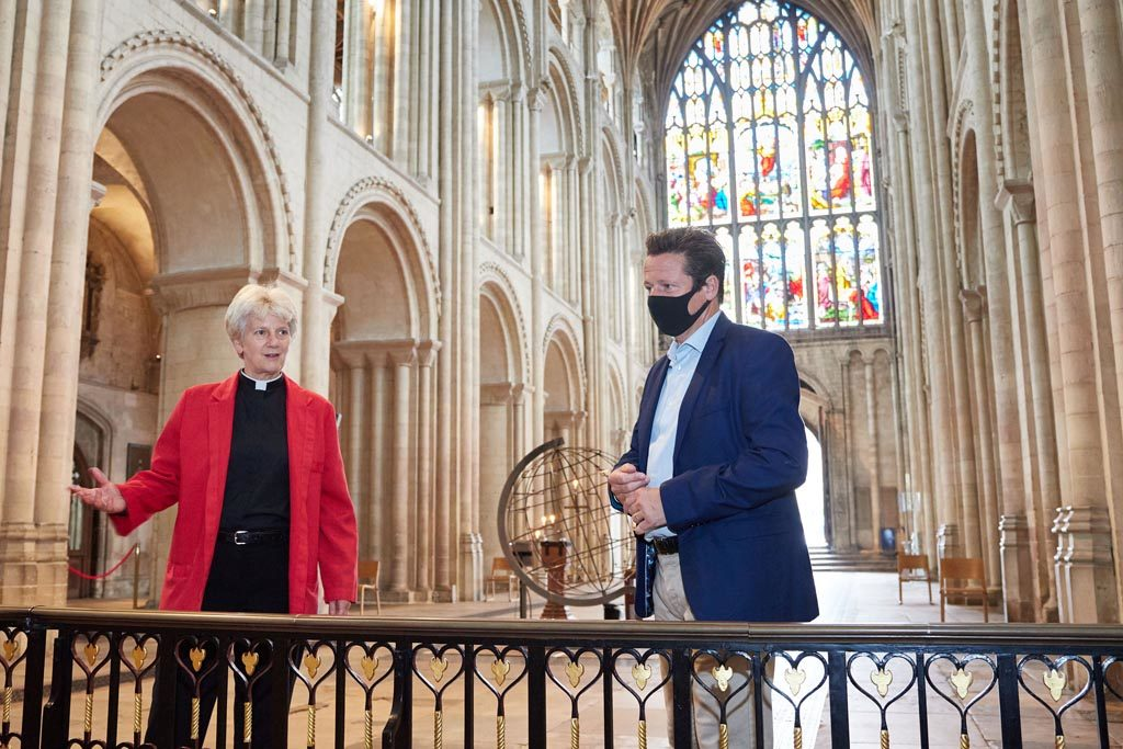 Nigel Huddleston MP with Norwich Cathedral Dean Jane Hedges.