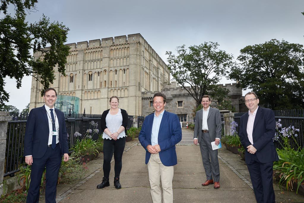 Nigel Huddleston MP (centre) with (l to r) Norfolk County Council Director of Culture & Heritage Steve Miller, Norwich Castle 'Gateway to Medieval England' Project Manager Hannah Jackson, Visit East of England Executive Director Pete Waters, New Anglia LEP Chief Executive Chris Starkie.