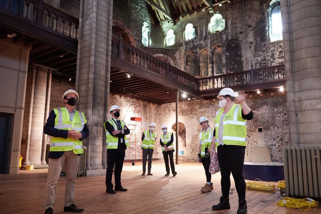 Project Manager Hannah Jackson explains Norwich Castle's 'Gateway to Medieval England' redevelopment to Tourism Minister Nigel Huddleston MP.