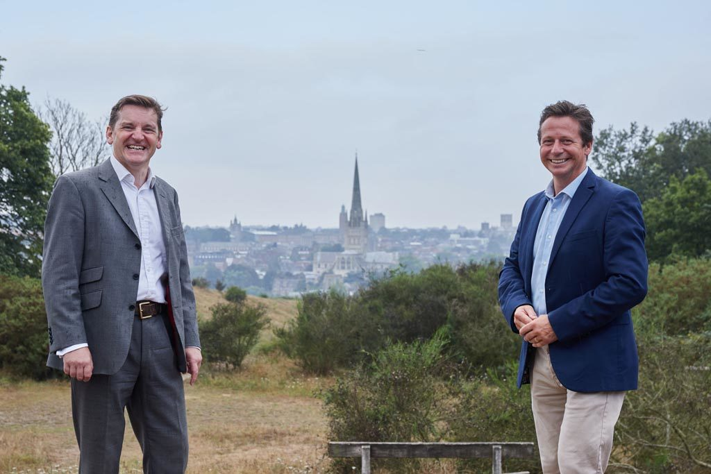 Visit East of England Executive Director Pete Waters and Tourism Minister Nigel Huddleston on Mousehold Heath, Norwich.