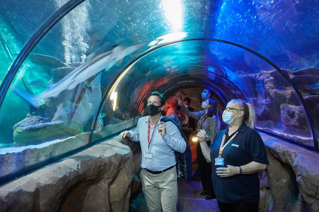 Nigel Huddleston MP is given a tour of the Sea Life Centre, Great Yarmouth by manager Terri Harris.