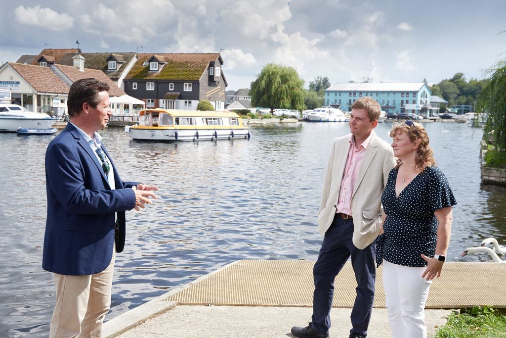 Nigel Huddleston MP meets James and Ruth Knight from Norfolk Broads Direct at Wroxham.