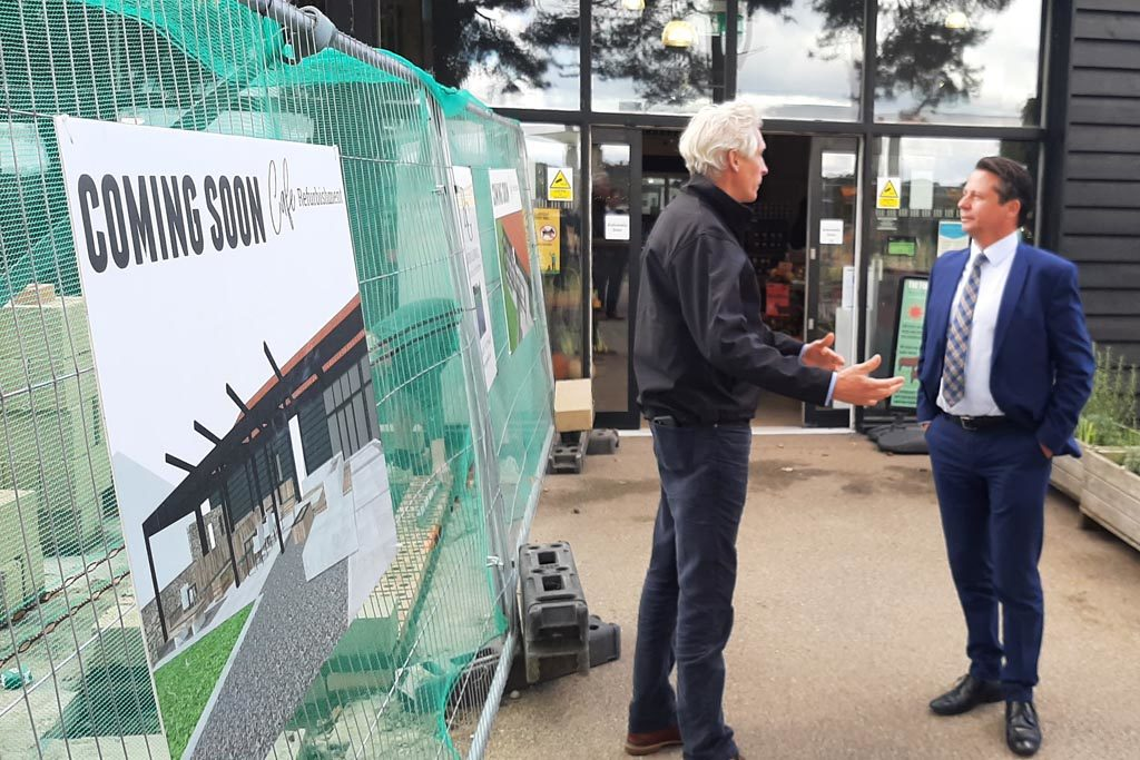 Tourism Minister Nigel Huddleston and Oliver Paul at Suffolk Food Hall