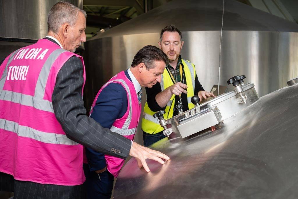 Tourism Minister Nigel Huddleston at Adnams Brewery