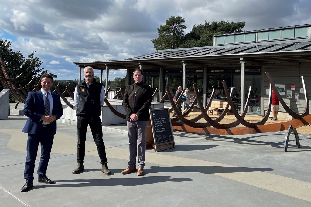 The Tourism Minister with Nick Collinson and Jim Horsfield at Sutton Hoo